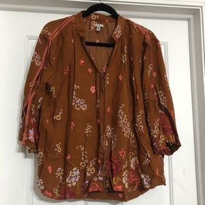 Ecote top brown small floral